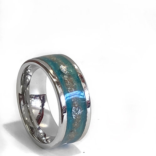8mm wide Sterling Silver Memorial Ashes Ring