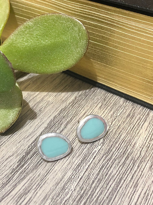 Sterling silver & teal resin enamel stud earrings