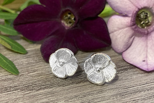 Silver Pansy Stud Earrings