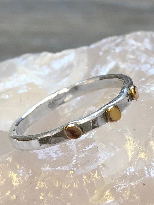 Silver & gold skinny ring