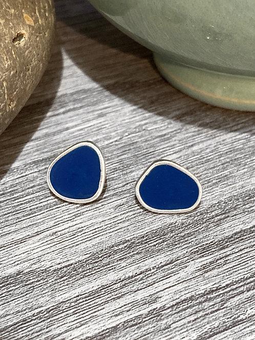 Sterling silver & navy  blue resin enamel stud earrings
