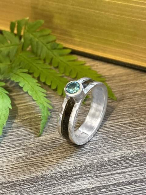 Sterling silver plaited horse hair ring with semi precious stone