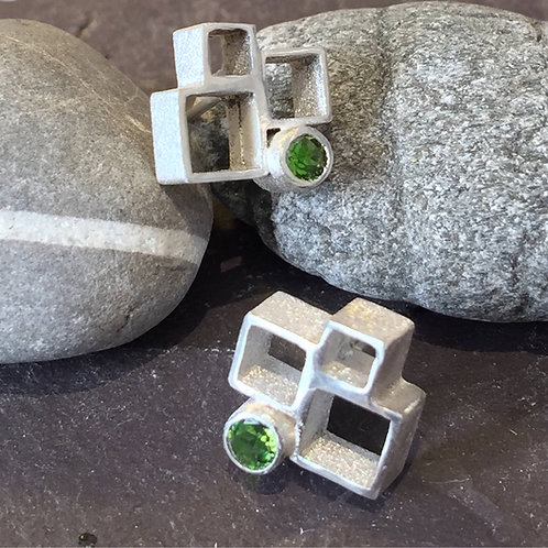 Sterling silver block studs with green Tourmaline
