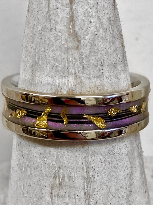 6mm wide Horsehair ring with 24ct gold leaf
