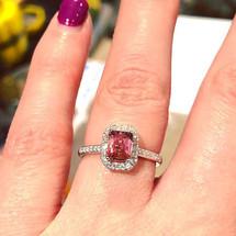 Stunning pink tourmaline ring with diamo