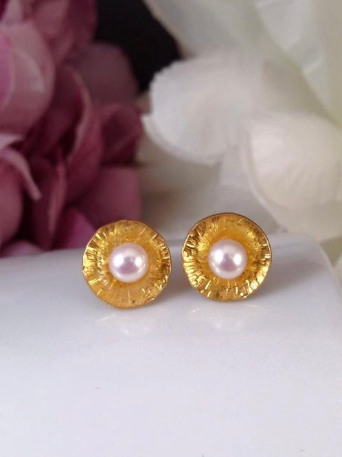 Silver & Pearl Studs with Yellow Gold detail
