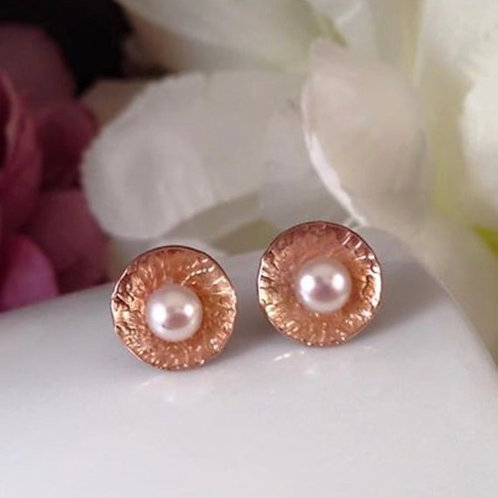 Silver & Pearl Studs with Rose Gold detail