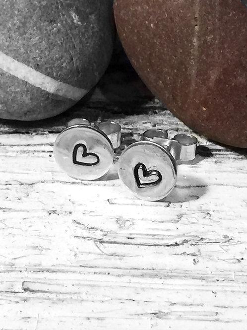 Sterling silver heart studs