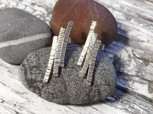 Silver bark earrings