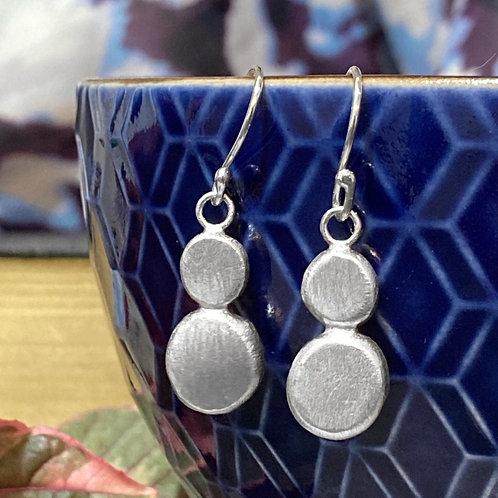 Silver pebble drop earrings