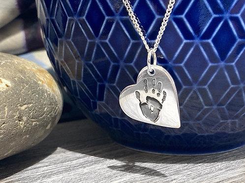 Small Silver Heart Handprint, Fingerprint or Footprint Pendant