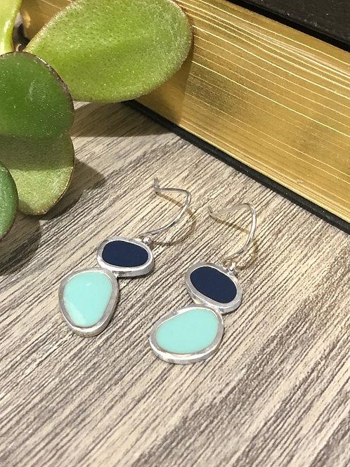 Sterling silver earrings with teal & Navy blue resin enamel