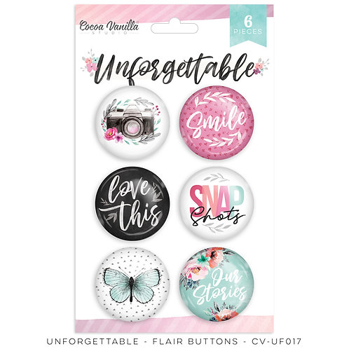 Flair Buttons- Unforgettable- Cocoa Vanilla Studio