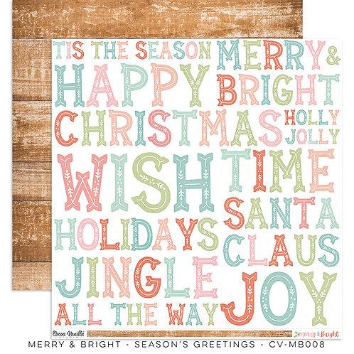 Season's Greetings 12x12 Paper- Merry & Bright