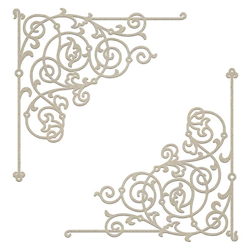 Filigree Corner Set Chipboard- Gentleman's Emporium