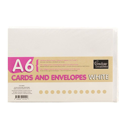 A6 Cards And Envelopes 50pk White