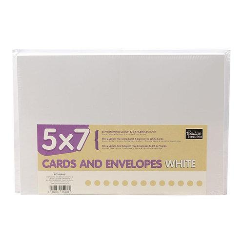 5x7 Cards And Envelopes 50pk White