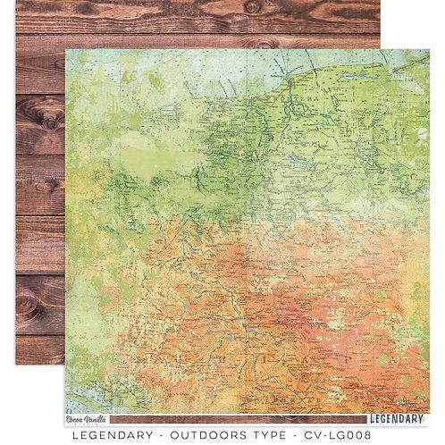 Outdoors Type- 12x12 Paper- Legendary Cocoa Vanilla Studios