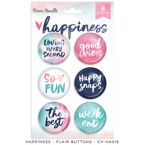 Flair Buttons- Happiness- Cocoa Vanilla Studio