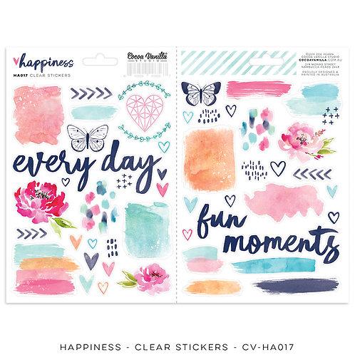 Clear Stickers- Happiness- Cocoa Vanilla Studio