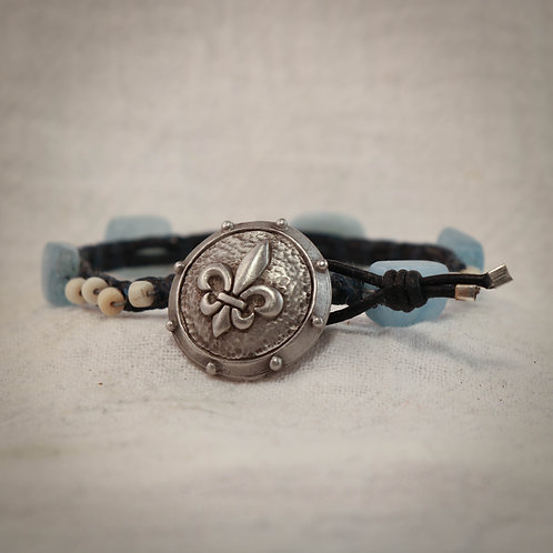 Aquamarine - Jade Men's Leather Braided Bracelet