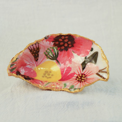 Floral Oyster Shell Trinket Dish