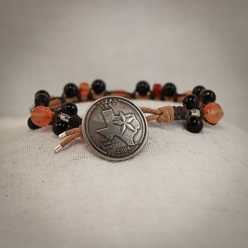 Obsidian - Carnelian Men's Leather Braided Bracelet