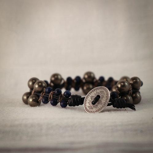 Lapis Lazuli & Rare Pyrite Men's Leather Braided Bracelet