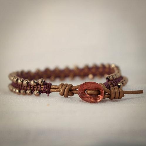 Womens Leather MicroBead Woven Bracelet