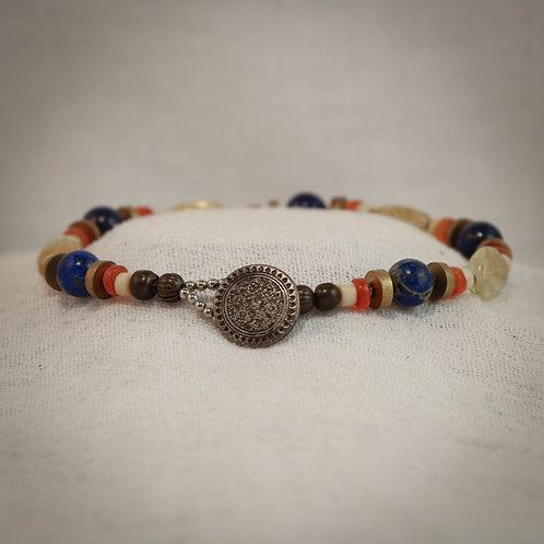 Citrine - Lapis Lazuli - Carnelian - Jade and Brass Men's Wire Bracelet