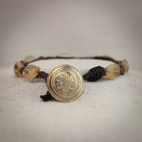 Citrine and Tourmaline Men's Braided Leather Bracelet