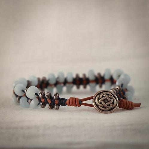 Aquamarine and Silver Men's Leather Braided Bracelet