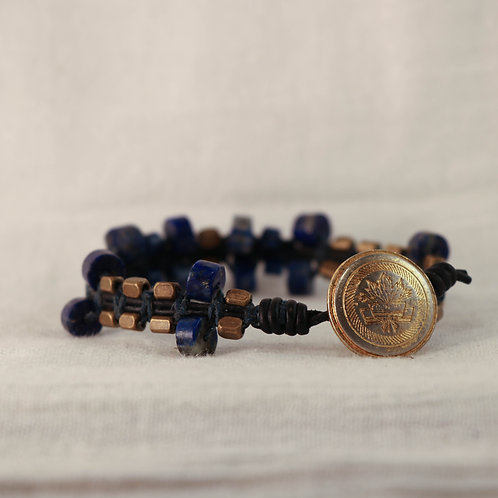 Lapis Lazuli and Brass Men's Leather Braided Bracelet
