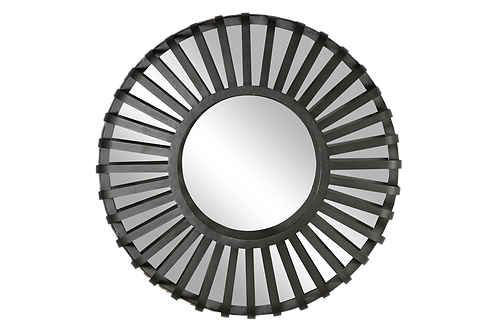 Everly Industrial Wall Mirror Black Large