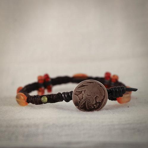 Carnelian and Peridot Men's Leather Braided Bracelet