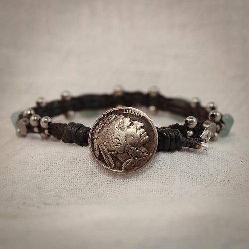 Aquamarine & Silver Men's Leather Braided Bracelet