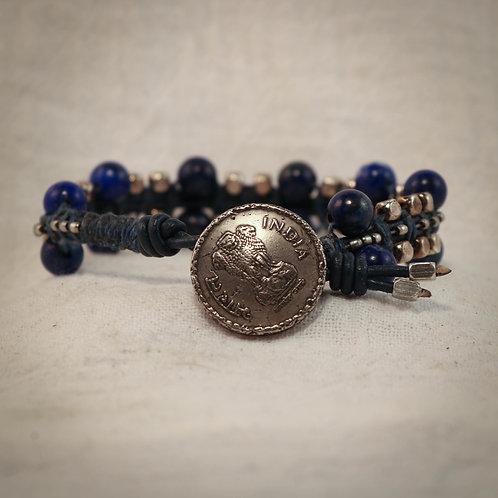 Lapis Lazuli & Silver Men's Leather Braided Bracelet