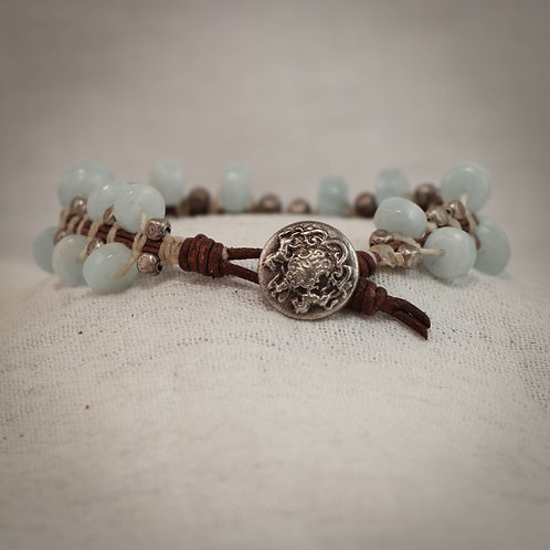 Aquamarine and Silver Men's Leather Braided Bracelet