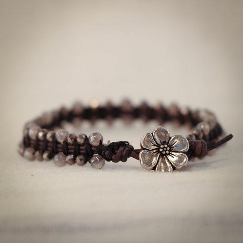 Womens Leather MicroGem Woven Bracele