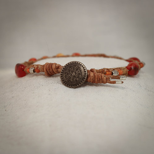 Carnelian and Silver Men's Leather Braided Bracelet