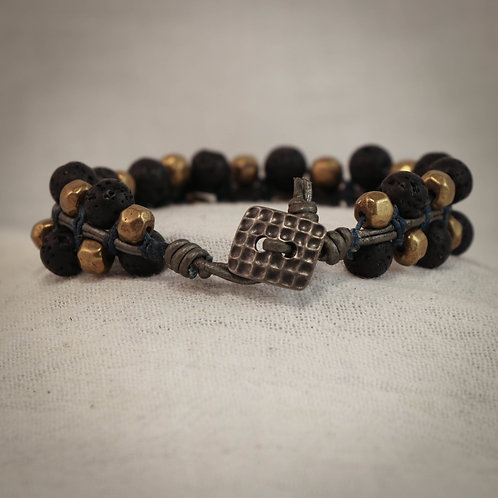 Brass and Lava Men's Leather Braided Bracelet