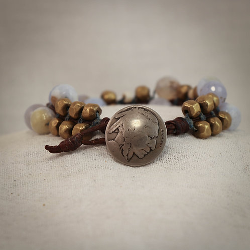 Calcedony Faceted Gemstone& Brass Men's Leather Braided Bracelet