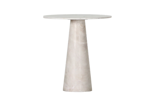 Apollos Accent Table Solid Basra Marble White