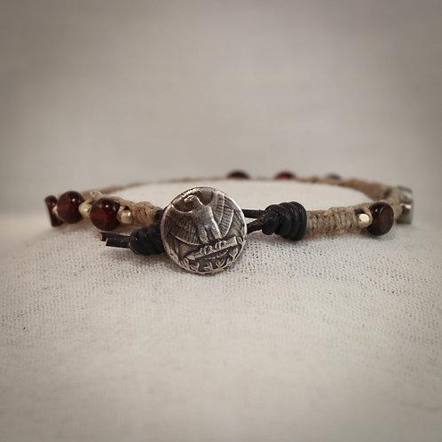 Garnet & Silver Men's Leather Braided Bracelet