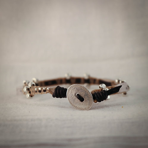 Rock Crystal and Silver Men's Leather Braided Bracelet