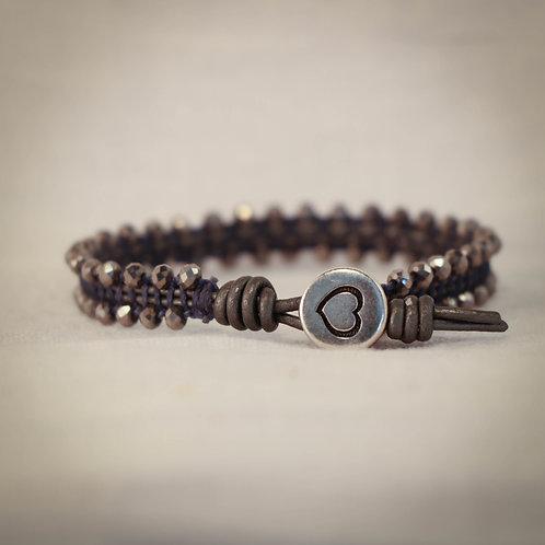Womens Leather MicroGem Woven Bracelet
