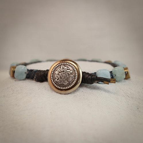 Aquamarine and Brass Men's Leather Braided Bracelet