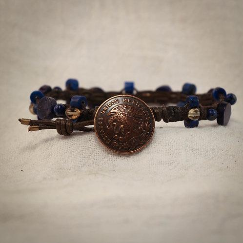 Lapis Lazuli - Citrine Men's Leather Braided Bracelet