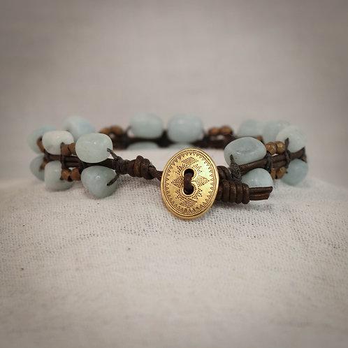 Aquamarine & Brass Men's Leather Braided Bracelet
