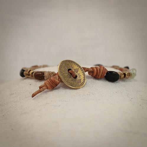 Tourmaline & Brass Men's Leather Braided Bracelet